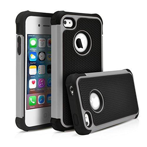 iPhone 4S Case, MagicMobile Rugged Durable Impact Resistant Shockproof Double Layer Cover Hard Armor Shield Shell and Soft Flexible Silicone Skin Color: Black - Gray with screen protector, stylus and charm (Mobile Case Iphone 4s compare prices)