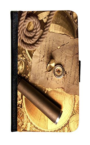 Rikki Knighttm Vintage Navigation Compass Map And Telescope Galaxy S5 Premium Pu Leather Wallet Type Flip Case With Magnetic Flap And Wristlet For Samsung Galaxy S5 I9500