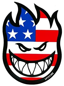 Spitfire Wheels Flaghead Fireball Skateboard Sticker - USA / US Flag skate board flame fire skate skateboarding sk8 stars and stripes