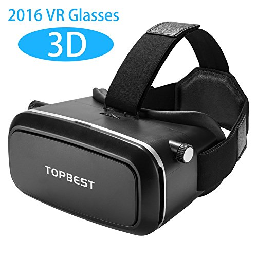 Topbest 2016 Newest Version 3D VR Headset Box Virtual Reality Glasses for 4.0~6.0 Inch Smartphones for 3D Movies with Adjustable Focal/pupil Distance