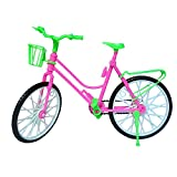Mini Kid Children Toy Plastic Bike Bicycle with Basket for Barbie Doll Bike Accessories Toy