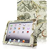 Fintie Folio Case for iPad 4th Generation with Retina Display, the New iPad 3 & iPad 2 Slim Fit Stand Smart Cover with Auto Sleep / Wake Feature - Map Design