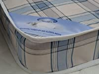 3FT SINGLE BUDGET MATTRESS WIDTH 3FT (90cm) - LENGTH 6FT3 (190cm) (approx size) CANDY BLUE CHECK FABRIC AS IN PHOTO from MR SLEEPS BEDS LIMITED