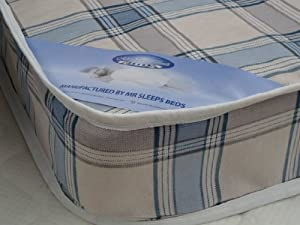 3FT SINGLE BUDGET MATTRESS WIDTH 3FT (90cm) - LENGTH 6FT3 (190cm) (approx size) CANDY BLUE CHECK FABRIC AS IN PHOTO