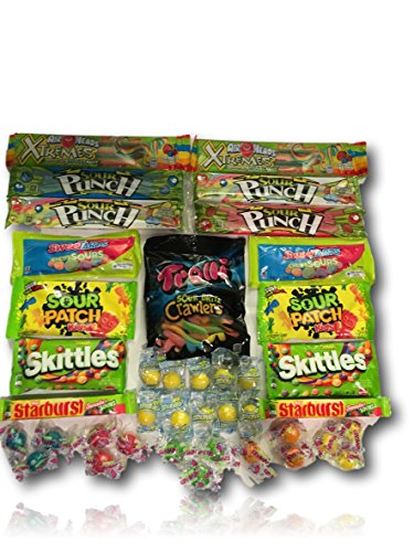 Super Sour Candy Care Package by AtHomePlus (40 Count) --Perfect Gift for College Dorm, Military or Office!! (American Care Package compare prices)