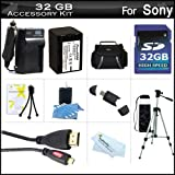32GB Accessory Kit For Sony HDR-PJ230, HDR-PJ230/B, FDR-AX100, HDR-CX900, FDR-AX33, FDRAX33/B HD Camcorder Includes 32GB High Speed SD Memory Card + Replacement (2300Mah) NP-FV70 Battery + Ac/DC Charger + Deluxe Case + 50