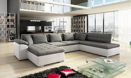 Grand Canapé d'angle xxl ALIA moderne et design en tissu et simili cuir gris et blanc
