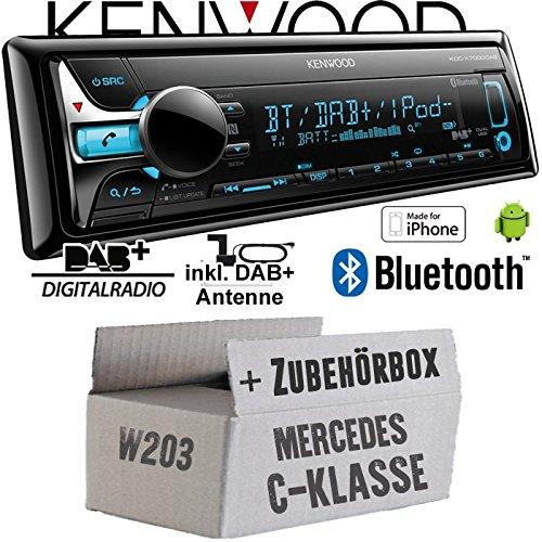 Mercedes C-Klasse W203 - Kenwood KDC-X7000DAB - Bluetooth | CD | MP3 | USB | DAB+ Digitalradio Autoradio inkl. DAB Antenne - Einbauset
