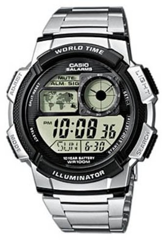 Casio Men's Digital Watch AE100WD-1A With World Time