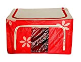PackNBUY Large Sized Foldable Fabric Storage Box Organizer with See-through Window for Clothes Toys Books- RED COLOR
