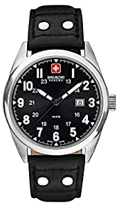 Swiss Military Sergeant Men's Quartz Watch with Black Dial Analogue Display and Black Leather Strap 6-4181.04.007