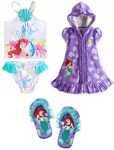 Disney Store Ariel/Little Mermaid Swim Set Swimsuit/Cover Up/Sandals Size Small