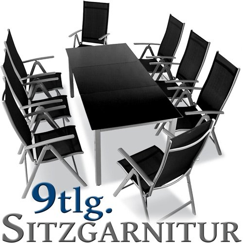 gartenm bel preisvergleich sitzgarnitur mit klappst hlen aluminium 9 teilig hellgrau. Black Bedroom Furniture Sets. Home Design Ideas