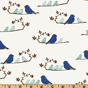 44'' Wide Valori Wells Wrenly Mamma Birds Cobalt Fabric By The Yard
