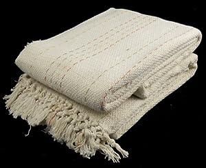100% Cotton Cream 3 Seater Sofa Bed Settee Throw 229cm x 254cm - Dots Design