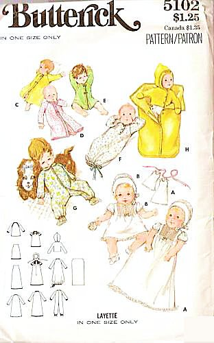 Butterick 5102 Vintage 1960S Baby Layette Sewing Pattern front-125068
