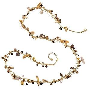 Chuvora Genuine Multi-Colored Fresh Water Cultured Pearl Gold Silk Thread Long Necklace 36''