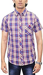 AA' Southbay Men's Blue & Brown Twill Checks 100% Premium Cotton Half Sleeve Casual Shirt