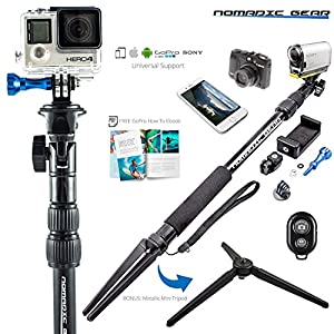 Nomadic Gear Selfie Stick and Tripod: Professional Quality, Highest Rate | Universal support for Smartphones and Cameras | Waterproof Design | Free GoPro Ebook Guide!