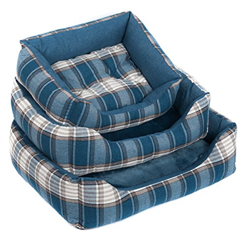 Favorite Large Rectangle Soft Warm Indoor Pet Puppy Dog Cat Sleeping Pad House Bed Cushion with Removable Mat, Blue L