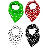 Bonzerdigs Baby Bandana Drool Bibs with Adjustable Snaps - Super Absorbent Cotton Cloth - Pack of 4