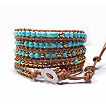 Turquoise and Gold Wrap Bracelet | Chan Luu Style Wrap Bracelet