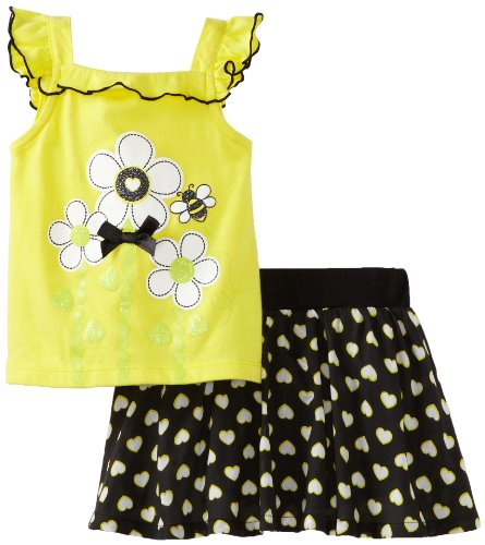 Kids Headquarters Baby-Girls Infant Top With Skort, Yellow, 24 Months