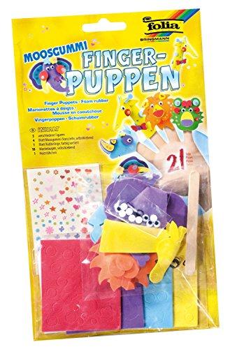 Folia 2362 - Moosgummi Fingerpuppen Zootiere, 5 verschiedene Figuren mit Zubehör, bunt