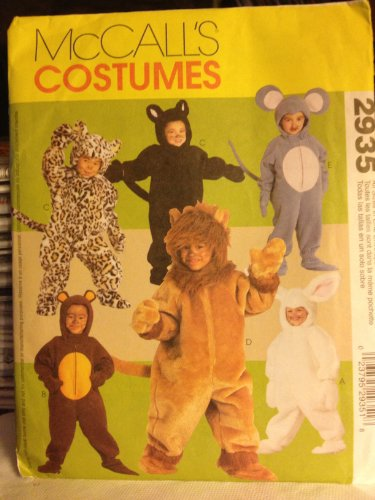 McCall's Costume Pattern #2935 Child's Size 1/2 - 4 Bunny Bear Cat Lion Mouse
