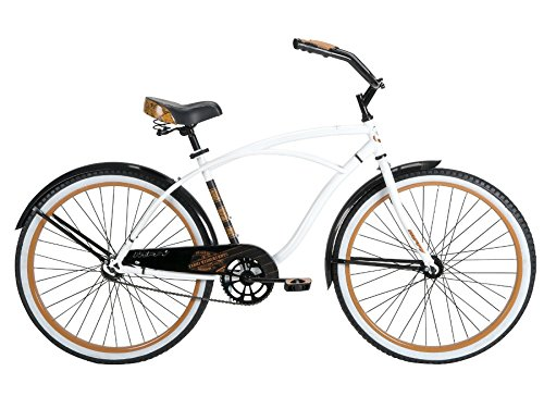 Huffy Bicycle Company Men's Number 26625 Good Vibrations Cruiser Bike, 26-Inch, Gloss White