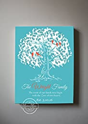 MuralMax - Personalized Family Tree & Lovebirds, Stretched Canvas Wall Art, Make Your Wedding & Anniversary Gifts Memorable, Unique Decor, Color - Aqua -Size 24 x 30 - 30-DAY