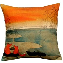 1 X Animal Series Cartoon Style Lovely Fox Go Boating Together Throw Pillow Case Decor Cushion Covers Square 18*18 Inch Beige Cotton Blend Linen