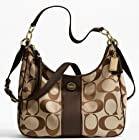 Coach Signature Stripe Khaki Mahogany Convertible Hobo F21873