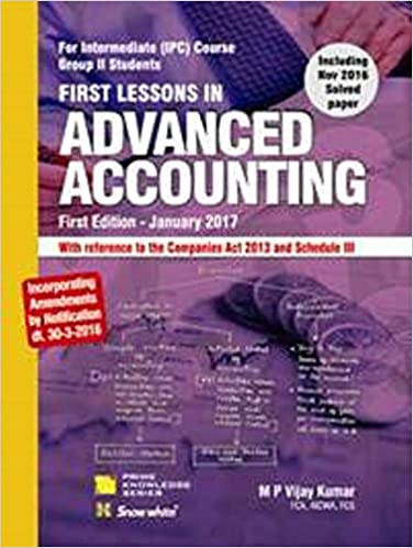 Advanced Accounting Book for IPC by M.P. Vijay Kumar