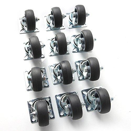 SPEED-12x50mm-Transportrollen-Lenkrollen-Schwerlastrollen-Apparaterollen-40-kg-Pro-Rolle-Polypropylen-Stahlblech-Verzinkt-Hellgrau