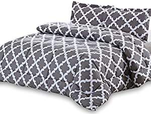 Printed Queen-Comforter-Set Grey - Luxurious Soft Brushed Microfiber - Goose Down Alternative Cozy, Warm and Comfortable Comforter with 2 Pillow Shams - Exceptionally Durable - by Utopia Bedding
