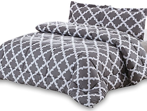 Discover Bargain Printed Comforter Set (Grey, King) with 2 Pillow Shams - Luxurious Soft Brushed Mic...