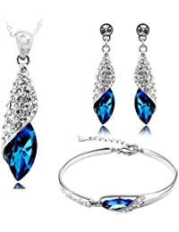 Valentine Gifts By Shining Diva Blue Crystal Combo Jewellery Of Pendant Necklace Set With Bracelet & Earrings...