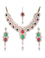 Bel-en-teno Red & Green Alloy Necklace Set For Women - B00PY9YXAA