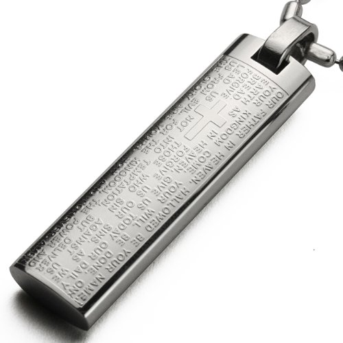 Lord's Prayer and Cross Stainless Steel English Small Pendant Necklace 24