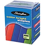 Swingline Color Bright Staples Multi-pack, 0.25 Inch Leg Length, 25 Sheet Capacity, 6,000 Staples per Box, Blue and Red and Green (S7035123)