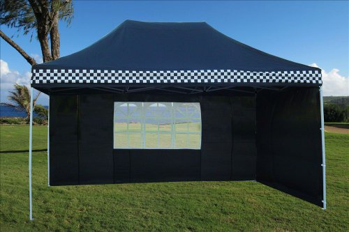 10'x15' Pop up 4 Wall Canopy Party Tent Gazebo Ez Black Checker - F Model Upgraded Frame By DELTA Canopies