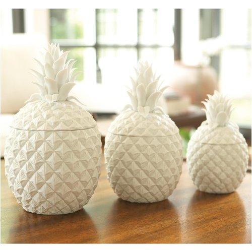 1 2 Set Of 3 White Pineapple Jars Kitchen
