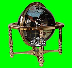"14"" BLACK ONYX GEMSTONE GLOBE with 4-Leg Gold Stand"