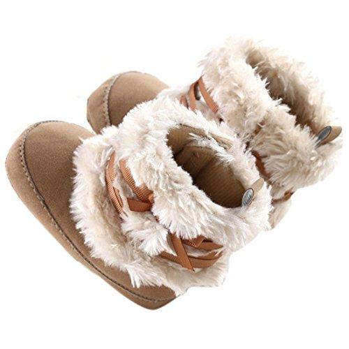 Baby Infant Bowknot Boots Soft Crib Shoes Toddler Warm Fleece Prewalker 0-18M (Small(0-6 Months), Khaki)