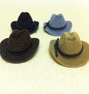 Set of 4 Dollhouse dolls Cowboy Hats