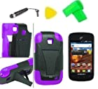 T-Stand Hybrid Phone Case Cover Cell Phone Accessory + Extreme Band + Stylus Pen + LCD Screen Protector + Yellow Pry Tool for Straight Talk Samsung Galaxy Proclaim S720C 720C SCH-S720C (T-Stand Black Purple)
