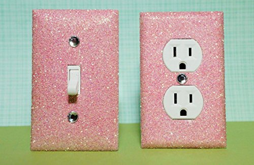 Light Pink Glitter Switch Plate & Outlet Covers. Set Of 2. All Styles Available! front-587361