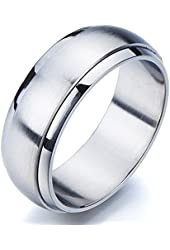 Refined Style Stainless Steel Spinner Unisex Ring Man Ring Comfort Fit 8mm