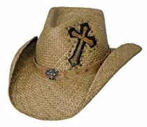 """Large Pecan """"Living on a Prayer"""" Panama Straw with Cross Stitched on the Crown"""